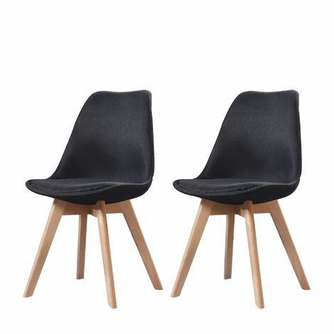 ELISA - Lot de 2 chaises scandinave - Tissu -  Noir - pieds en bois massif design salle a manger salon - 53 x 49 x 82 cm - Noir