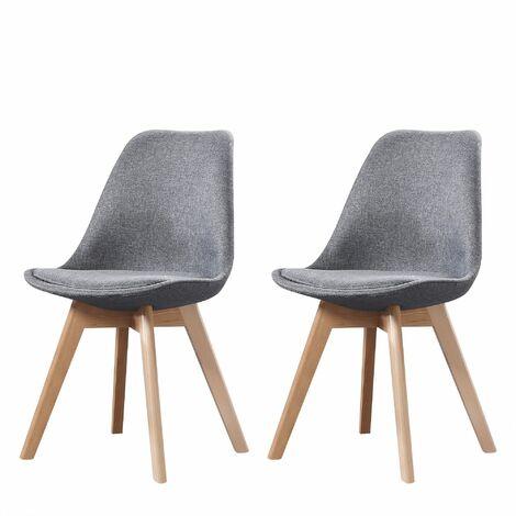 ELISA - Lot de 2 chaises scandinave - Tissu - Gris clair - pieds en bois massif design salle a manger salon - 53 x 49 x 82 cm - Gris Clair