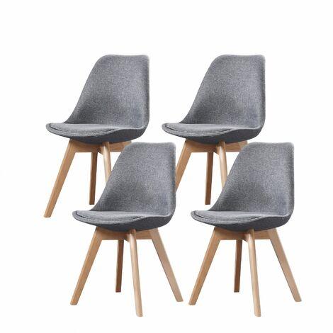 ELISA - Lot de 4 chaises scandinave - Tissu - Gris clair - pieds en bois massif design salle a manger salon - 53 x 49 x 82 cm - Gris Clair