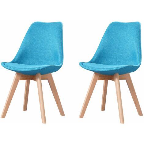ELISA - Lot de 2 chaises scandinave - Tissu - Bleu - pieds en bois massif design salle a manger salon - 53 x 49 x 82 cm - Bleu
