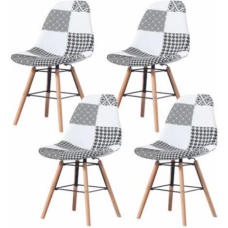 CARLA - Lot de 4 chaises scandinave  - Tissu -  Noir/Blanc - pieds en bois et metal design salle a manger salon - 53 x 46 x 82 cm