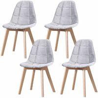 CANDICE - Lot de 4 chaises scandinave - Velours - Gris Clair - pieds en bois massif design salle a manger salon - 50 x 46 x 83 cm - Gris Clair