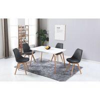 ELISA - Lot de 4 chaises scandinave - Tissu - Gris foncé - pieds en bois massif design salle a manger salon - 53 x 49 x 82 cm - Gris Foncé