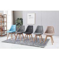 SHERYL - Lot de 4 chaises capitoné scandinave - Tissu - Gris Clair - pieds en bois massif design - 57 x 49 x 83 cm - Gris Clair