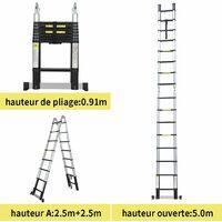 Echelle téléscopique multifonction - Noir -5 metres- multifonction en aluminium - Certifié EN131