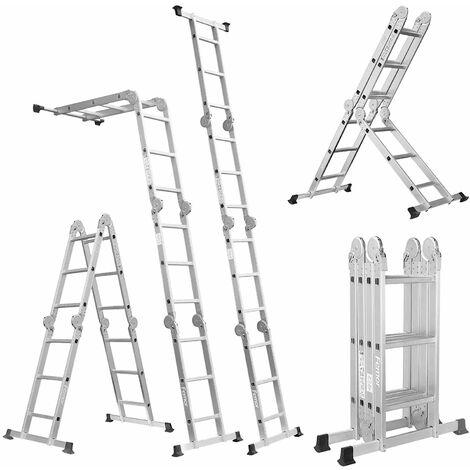 Mehrzweckleiter maximale Belastung 150 kg Mit 2 Paneelen Multifunktionsleiter Faltbare Leiter Aluminiumlegierung