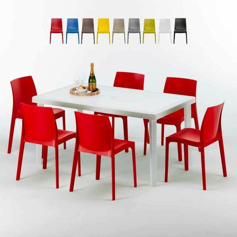 Tavolo Rettangolare Bianco 150x90 Cm Con 6 Sedie Colorate Rome Summerlife Rosso