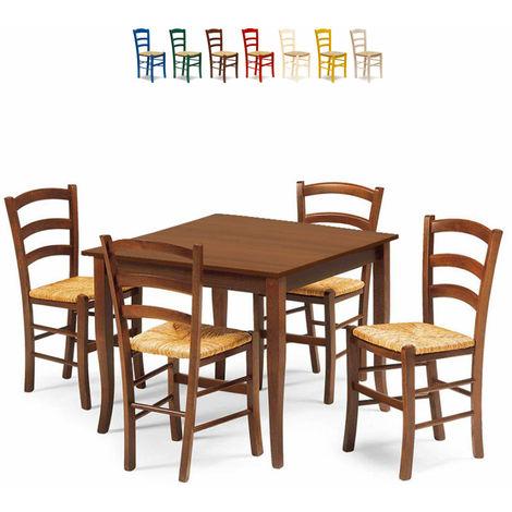 Set 4 Sedie E Tavolo Da Interno Cucina E Bar Quadrato 80x80 Legno Rusty Marrone