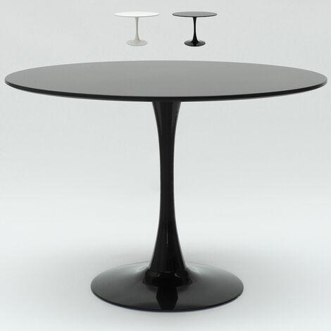 Tavolo Tulip 120 Cm Rotondo Bianco E Nero Per Soggiorno Bar Cucina Ristorante Nero