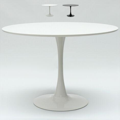 Tavolo Tulip 120 cm rotondo bianco e nero per soggiorno bar cucina ristorante   Bianco