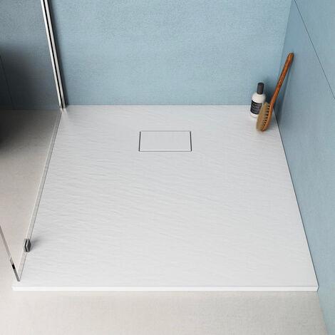 Piatto Doccia Quadrato 90x90 Filo Pavimento Resina Bagno Moderno Stone Colore Bianco