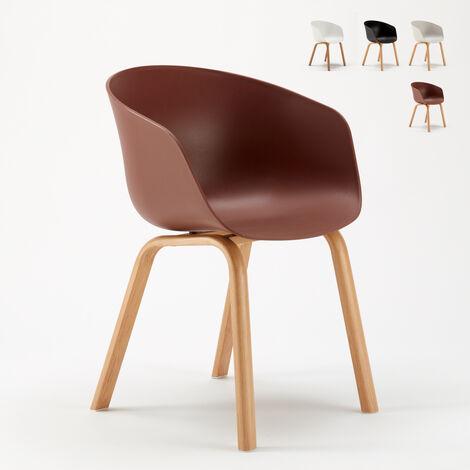 Sedie Design Scandinavo Metallo Effetto Legno Dexer Per Bar E Cucina Marrone