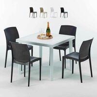 Tavolo Quadrato Con 4 Sedie.Tavolino Quadrato Marrone 90x90 Cm Con 4 Sedie Colorate Brown Passion