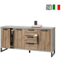 Credenza madia in legno design moderno industriale per cucina Houston