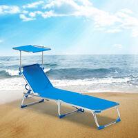 Lettino Lido Sdraio Prendisole mare Stabilimento Spiaggia Professionale Struttura in Alluminio reclinabile 3 posizioni Melange Ecr/ù con tettuccio Parasole in texilene da 750 grammi