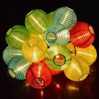 SOEKAVIA Guirlande lumineuse solaire extérieure 5 mètres Lanterne 20 LED Lampions Chaîne lumineuse solaire étanche Décoration de Noël pour jardin, terrasse, cour, maison, arbre de Noël, fêtes (couleur)