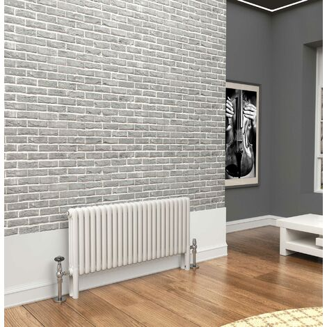 TradeRad Premium White 3 Column Horizontal Radiator 500mm x 1104mm