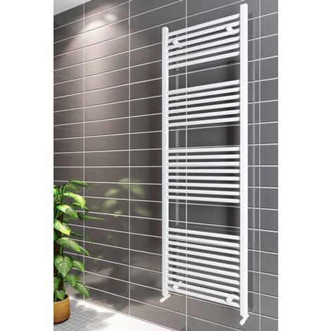 Eastbrook Wingrave Steel White Straight Heated Towel Rail 1200mm x 400mm Central Heating