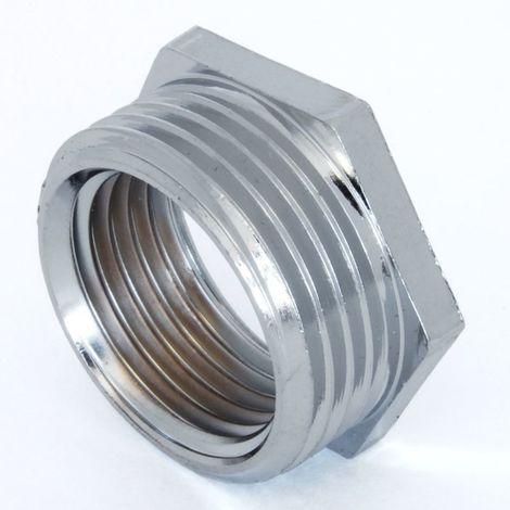 Plumbers Choice 3/4 inch BSPT x 1/2 inch BSPP M/F Chrome