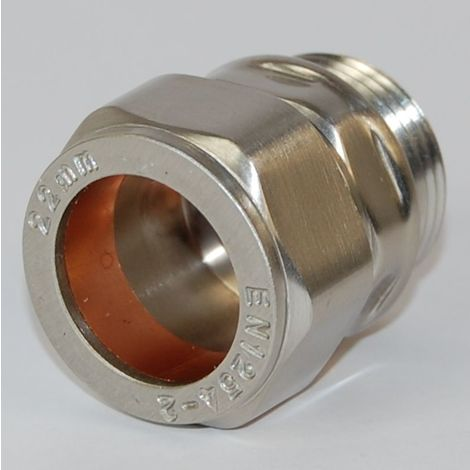Plumbers Choice Rosa 22mm Brass Compression Adapter Brushed Satin Nickel