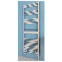 Eastbrook Wendover Straight Steel White Heated Towel Rail 600mm x 300mm Electric Only - Thermostatic