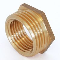 Plumbers Choice 3/4 inch BSPT x 1/2 inch BSPP M/F Polished Brass