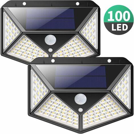 Lampe Solaire Extérieur 【Version Améliorée 2 Pack】100 LED 2200 mAh éclairage Extérieur étanche 270° lumière Solaire Détecteur de Mouvement 180 ° Spot Solaire Applique Solaire pour Jardin