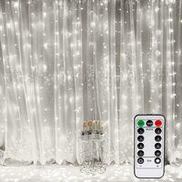 LITZEE Rideau Lumineux, Fenêtre Guirlandes Lumineuses 300 LED 3m*3m, 8 Modes d'Eclairage, Ambiance pour Décoration Noël, Mariage, Anniversaire, Balcon, Terrasse, Chambre [Classe énergétique A+] - Blanc