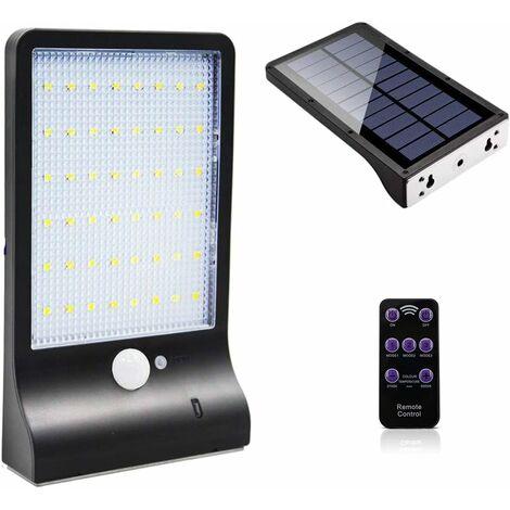 LITZEE Lámpara solar para uso en exteriores 48 LED con sensor de movimiento Regulable con control remoto inalámbrico Lámpara solar impermeable para valla de patio Puerta de pasillo negra sin mástil