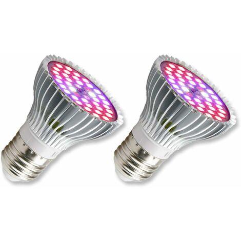 LITZEE E27 Lámpara LED para horticultura para plantas, 30 W E27 con lámpara de planta de espectro completo 40LED, CA 85-265 V, lámpara de interior para flores y jardín para jardín / hidroponía / acuario, juego de 2 [clase energética A +]