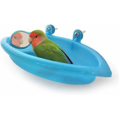 LITZEE Birds Bath Suministros de baño para mascotas Ducha portátil Pequeños animales de plástico Lavabo para loros, Baño para pájaros Baño para pájaros Accesorios para cabina de ducha para loros (azul)