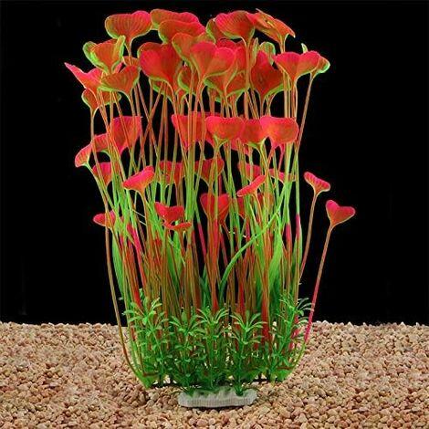 LITZEE Plantas de acuario artificiales grandes de plástico para decoración de acuarios, aptas para todos los peces de 40 cm de alto (18 cm) de ancho