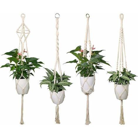 LITZEE - Juego de 4 soportes para macetas colgantes de macramé, soportes para plantas colgantes para interiores y exteriores, decoración de jardín con 41 pulgadas, 4 patas de cuerda
