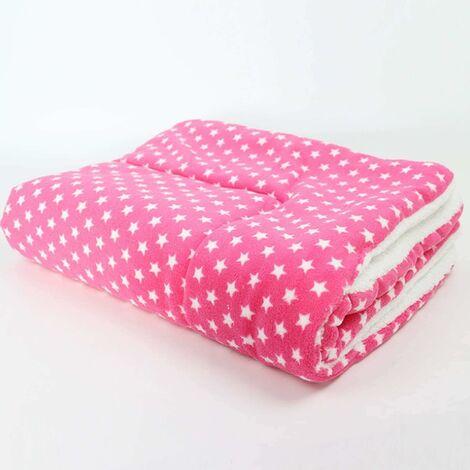Mantas para perros LITZEE, almohadas mullidas para cachorros y gatos, alfombrilla lavable, pequeña, mediana, grande (XL, rosa), estrellas rosas