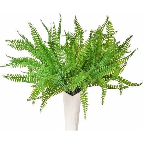 LITZEE, 3 piezas, arbustos artificiales de helecho de Boston, arbustos verdes para interior, exterior, jardín, oficina, porche, decoración de boda
