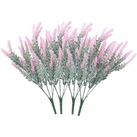 LITZEE 4 ramos de flores artificiales flocado flores artificiales planta de lavanda flores artificiales decoración en maceta (rosa)