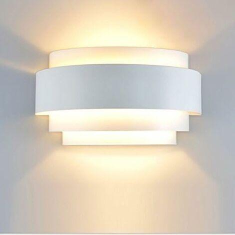 LITZEE Lámparas de pared LED Lámpara de pared de diseño simple Aplique interior Luz de metal para dormitorio Escalera Tienda Sala de estar Oficina Porche Blanco cálido [Clase energética A ++]