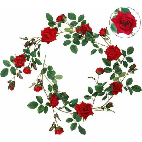 LITZEE Rose Guirnalda de franela artificial Rosas 19 botones Rose Decoración romántica Fiesta de bodas Sala de estar Decoración de la ventana Aspecto real en rosa blanca roja Rojo grande