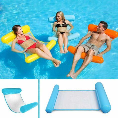 LITZEE Hamaca flotante multiusos, flotador inflable para piscina 4 en 1 Hamaca flotante reclinable Hamaca de agua multiusos Hamaca portátil flotante plegable Flotador ultraligero (azul)