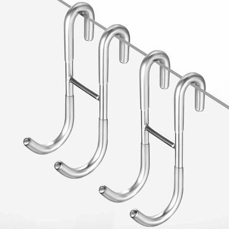 LITZEE Ganchos de ducha sin taladros Cabina de ducha set de 2 con protector de silicona para mampara de ducha de cristal, toallero y soporte para escobilla de ducha