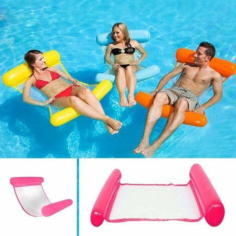 LITZEE Hamaca flotante multiusos, flotador inflable para piscina 4 en 1, hamaca flotante reclinable, hamaca de agua multiusos, plegable, portátil, flotante, flotador ultraligero (rosa)