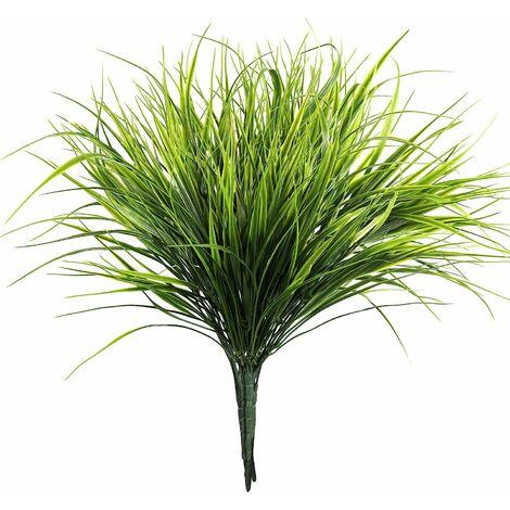 Plantas artificiales de pasto de trigo verde LITZEE (6 piezas) - Plantas artificiales de 37 cm - Hierba de arbusto de plástico sintético para decoración de balcones y bodas
