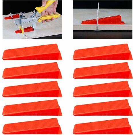 LITZEE Sistema de nivelación de baldosas Cuñas, Nivelador de cuña Separadores de baldosas Separadores de baldosas Nivelador de baldosas Clips Esquinas, 100 piezas, Rojo