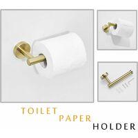 LITZEE Juego de accesorios de baño de 3 piezas, toallero de 30 cm, soporte para papel higiénico, gancho para bata, dorado cepillado