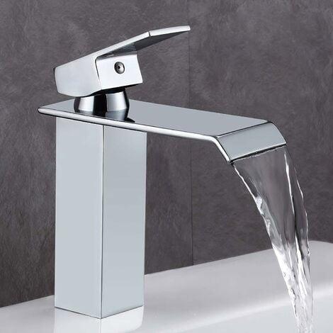 Rubinetto WC LITZEE, rubinetto a cascata in stile moderno in ottone cromato, valvola in ceramica, design piatto rettangolare per un risparmio idrico del 30%.