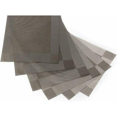 LITZEE Set di 6 Tovagliette in PVC Lavabile Antiscivolo Ecologico, 30 x 45 cm - Grigio
