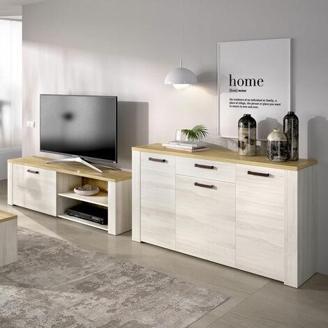 Mueble Salón rústico compuesto por mueble bajo tv y mueble aparador modelo SENA