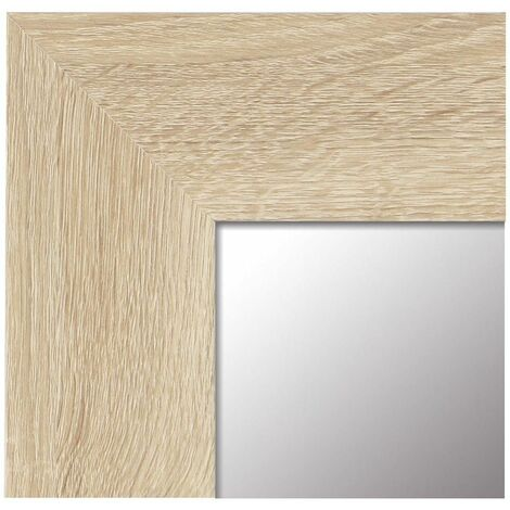 Espejo de Pared Fabricado en España- Varios Tamaños - Espejo Vestidor, Salón, Baño, Entraditas- Modelo MDF8 (Haya, 65x85 cm)