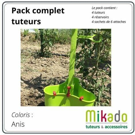 PACK 1 VERT ANIS : 4 tuteurs 150 cm, 4 reservoirs, 4 sachets de 6 attaches