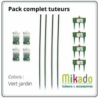 PACK 1 VERT JARDIN : 4 tuteurs 150 cm, 4 reservoirs, 4 sachets de 6 attaches